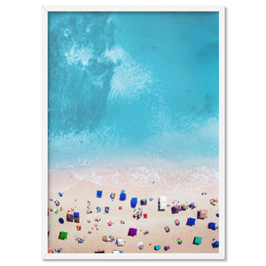 Day on the Beach, from the Air - Art Print, Stretched Canvas, or Framed Canvas Wall Art