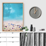 Aerial Beach Summer Day Out - Art Print, Stretched Canvas or Framed Canvas Wall Art, Shown inside a frame