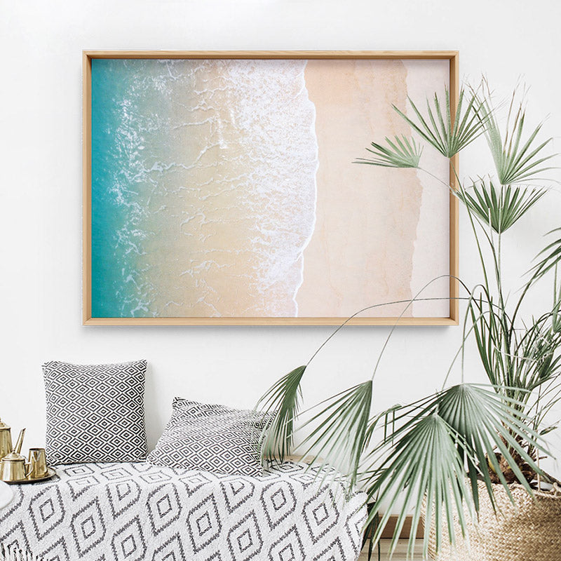 Load image into Gallery viewer, Aerial Coastal Sandy Beach - Art Print, Stretched Canvas or Framed Canvas Wall Art, Shown inside a frame