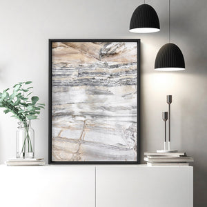 Bondi Coastal Rock Face I - Art Print, Stretched Canvas or Framed Canvas Wall Art, Shown inside a frame