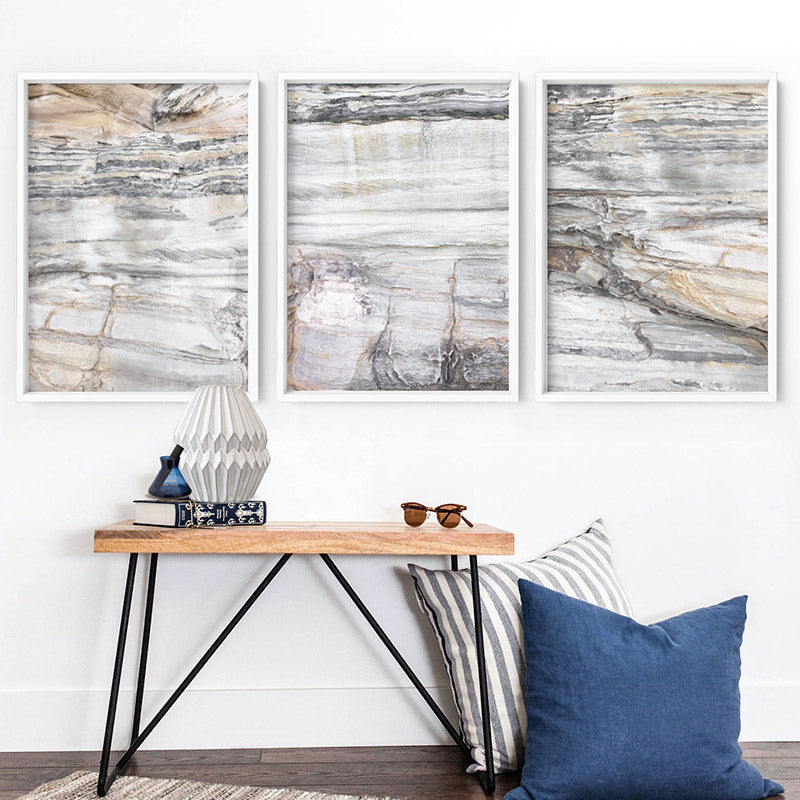 Bondi Coastal Rock Face I - Art Print, Stretched Canvas or Framed Canvas Wall Art, Shown framed in a room mockup