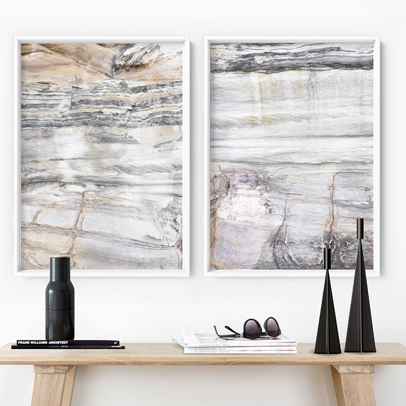 Bondi Coastal Rock Face III - Art Print, Stretched Canvas or Framed Canvas Wall Art, Shown framed in a room mockup
