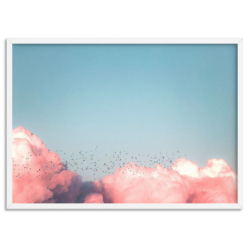 Above the Clouds in Blush, Blue Sky - Art Print, Stretched Canvas, or Framed Canvas Wall Art