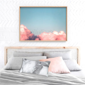Above the Clouds in Blush, Blue Sky - Art Print