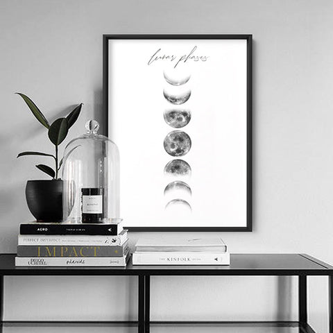 Lunar Moon Phases - Art Print, Stretched Canvas, or Framed Canvas Wall Art