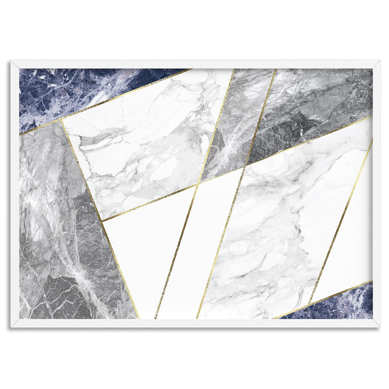 Geometric Marble Slices Cobalt Landscape - Art Print, Stretched Canvas, or Framed Canvas Wall Art