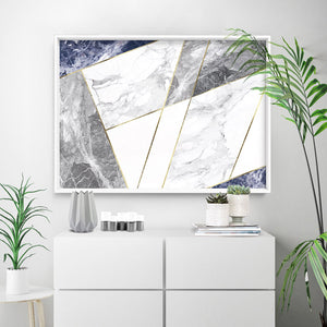 Geometric Marble Slices Cobalt Landscape - Art Print, Stretched Canvas or Framed Canvas Wall Art, Shown inside a frame