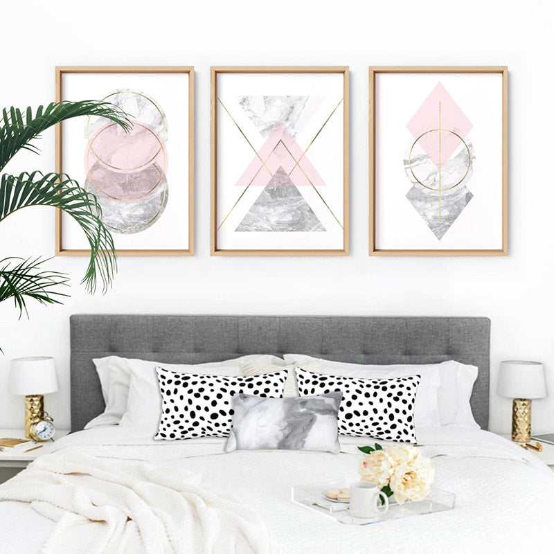 Geometric Marble Shapes I - Art Print, Stretched Canvas or Framed Canvas Wall Art, Shown framed in a room mockup