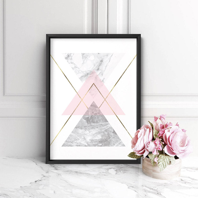 Geometric Marble Shapes II - Art Print, Stretched Canvas, or Framed Canvas Wall Art