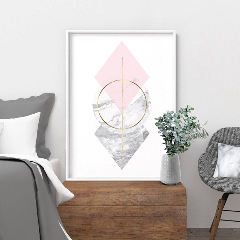 Geometric Marble Shapes III - Art Print, Stretched Canvas or Framed Canvas Wall Art, Shown inside a frame