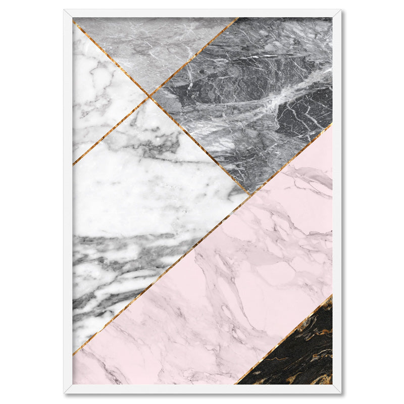 Geometric Marble Slices V1 - Art Print