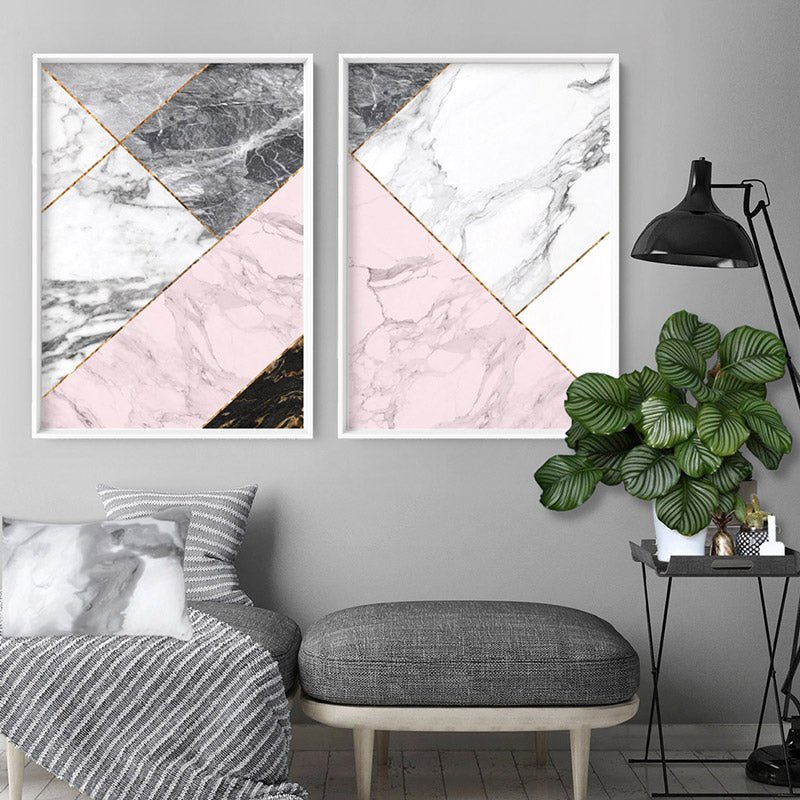 Geometric Marble Slices I - Art Print, Stretched Canvas or Framed Canvas Wall Art, Shown inside a frame