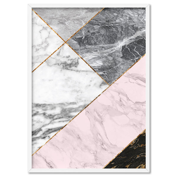 Geometric Marble Slices V1 - Art Print, Stretched Canvas, or Framed Canvas Wall Art