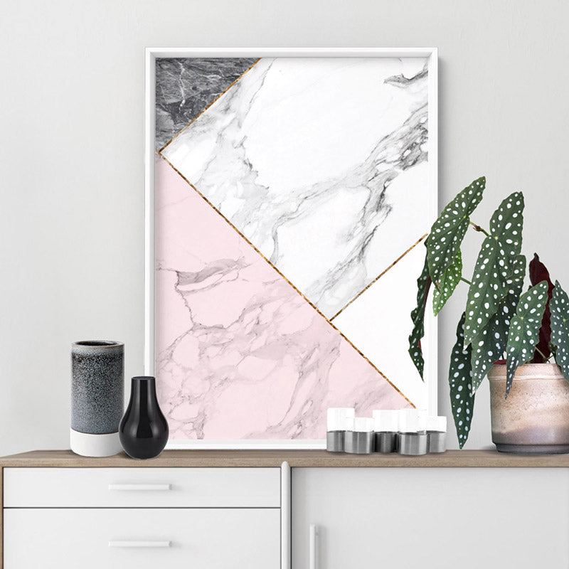 Geometric Marble Slices II - Art Print, Stretched Canvas or Framed Canvas Wall Art, Shown inside a frame