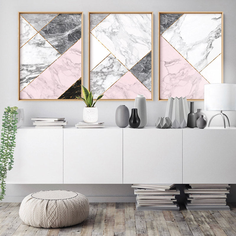 Geometric Marble Slices II - Art Print, Stretched Canvas, or Framed Canvas Wall Art