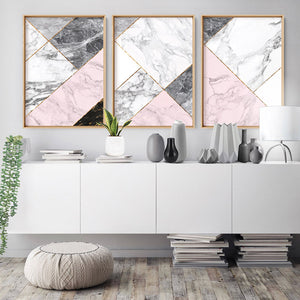 Geometric Marble Slices II - Art Print, Stretched Canvas or Framed Canvas Wall Art, Shown framed in a room mockup
