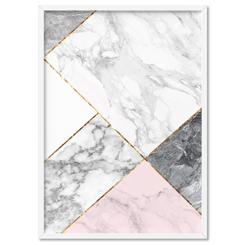 Geometric Marble Slices III - Art Print