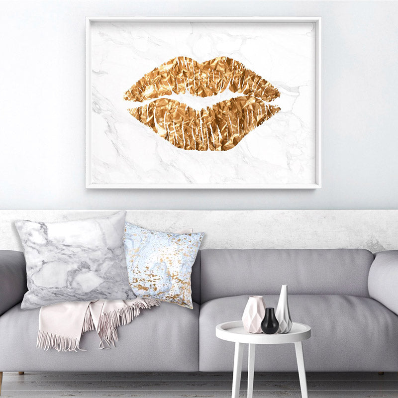 Solid Kiss White Marble & Gold (faux look foil) - Art Print, Stretched Canvas or Framed Canvas Wall Art, Shown inside a frame