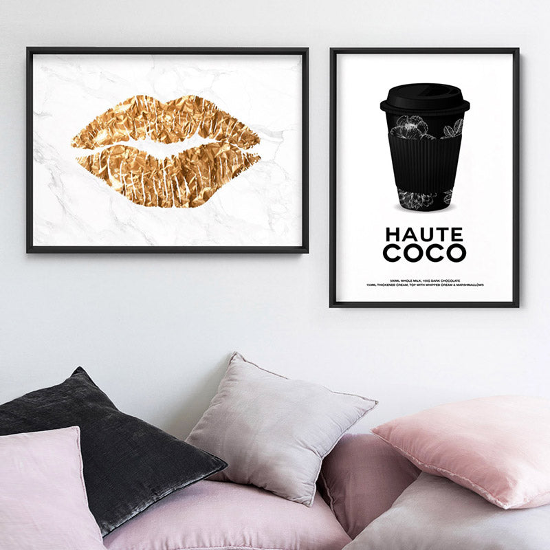 Solid Kiss White Marble & Gold (faux look foil) - Art Print, Stretched Canvas or Framed Canvas Wall Art, Shown framed in a room mockup