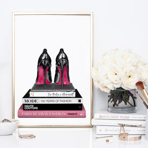 Stiletto Heels on Fashion Books - Art Print, Stretched Canvas or Framed Canvas Wall Art, Shown inside a frame