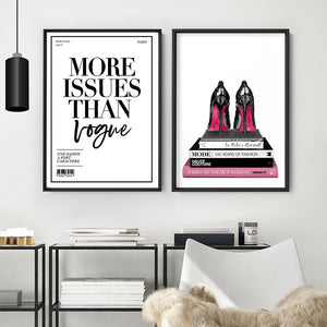 Stiletto Heels on Fashion Books - Art Print, Stretched Canvas or Framed Canvas Wall Art, Shown framed in a room mockup