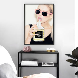 Take a Sip of Parfum - Art Print, Stretched Canvas or Framed Canvas Wall Art, Shown inside a frame