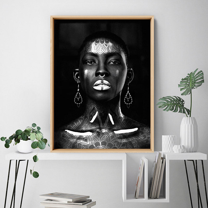 Tribal African Queen - Art Print, Stretched Canvas or Framed Canvas Wall Art, Shown inside a frame