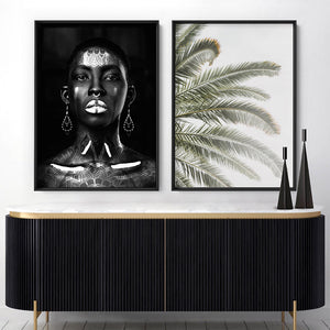 Load image into Gallery viewer, Tribal African Queen - Art Print, Stretched Canvas or Framed Canvas Wall Art, Shown framed in a room mockup