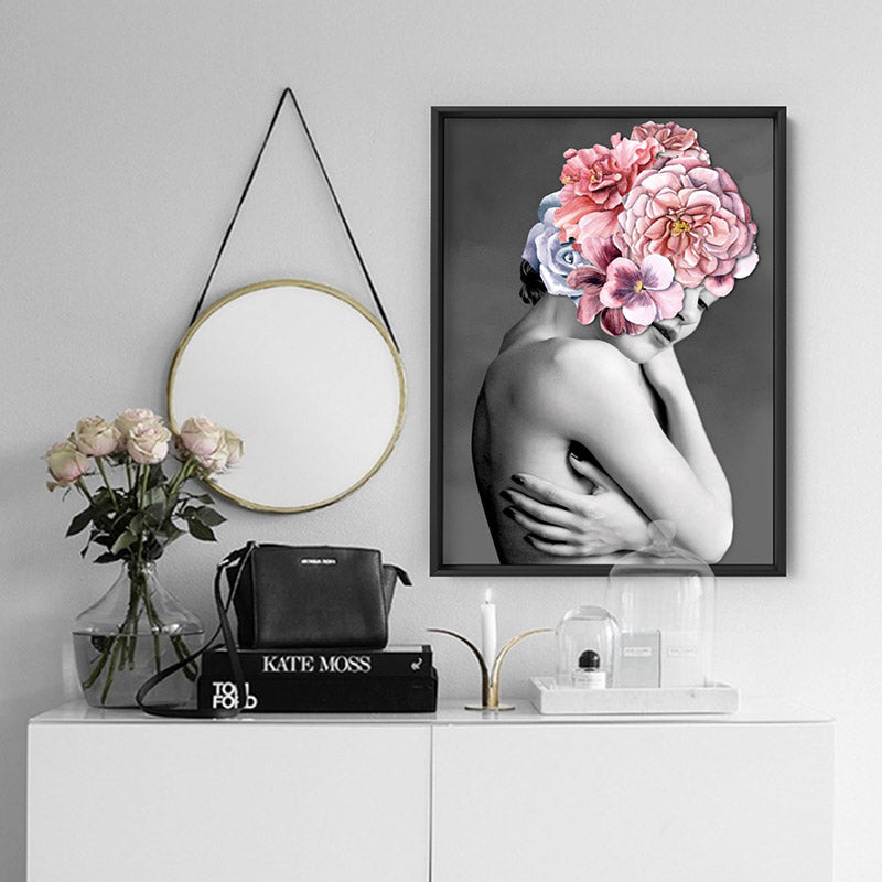 Floral Crown I - Art Print, Stretched Canvas or Framed Canvas Wall Art, Shown inside a frame
