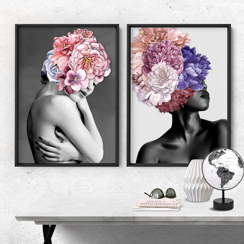 Floral Crown I - Art Print, Stretched Canvas or Framed Canvas Wall Art, Shown framed in a room mockup