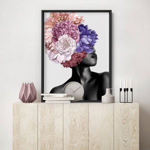 Floral Crown II - Art Print, Stretched Canvas or Framed Canvas Wall Art, Shown inside a frame