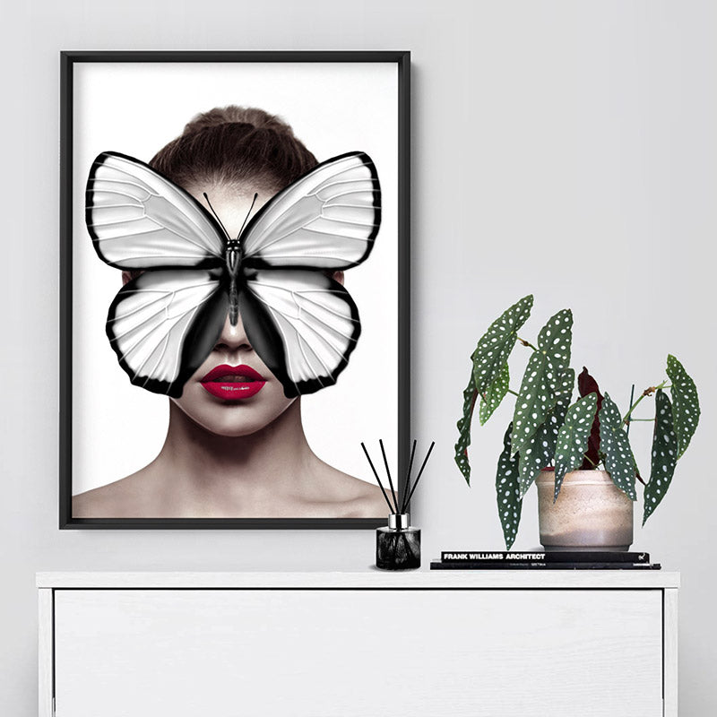 Butterfly Mask - Art Print, Stretched Canvas or Framed Canvas Wall Art, Shown inside a frame