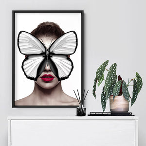 Load image into Gallery viewer, Butterfly Mask - Art Print, Stretched Canvas or Framed Canvas Wall Art, Shown inside a frame