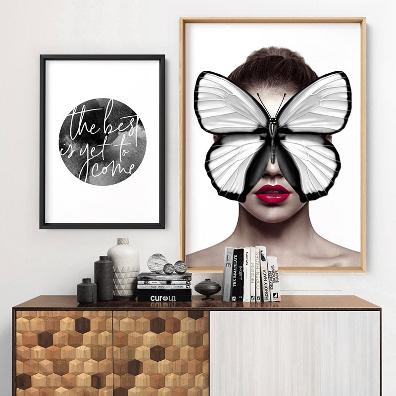 Load image into Gallery viewer, Butterfly Mask - Art Print, Stretched Canvas or Framed Canvas Wall Art, Shown framed in a room mockup