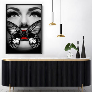 Butterfly Lips - Art Print, Stretched Canvas or Framed Canvas Wall Art, Shown inside a frame