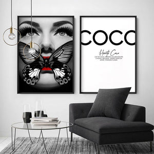 Butterfly Lips - Art Print, Stretched Canvas or Framed Canvas Wall Art, Shown framed in a room mockup
