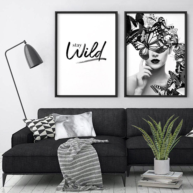 Load image into Gallery viewer, Butterflies En Vogue II - Art Print, Stretched Canvas or Framed Canvas Wall Art, Shown framed in a room mockup