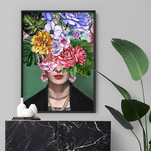 Frida Flower Bomb - Art Print, Stretched Canvas, or Framed Canvas Wall Art