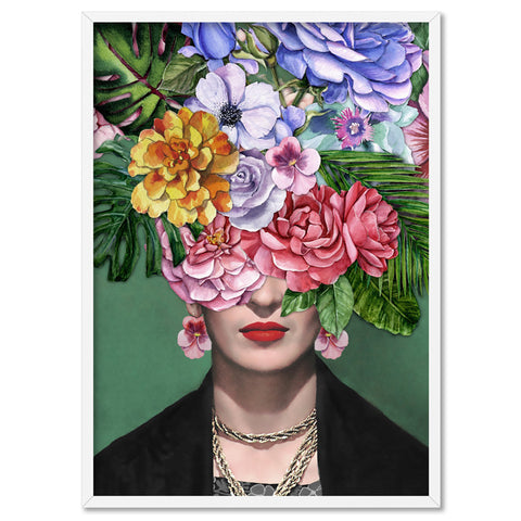 Frida Kahlo Watercolour Flower Bomb - Art Print, Stretched Canvas, or Framed Canvas Wall Art