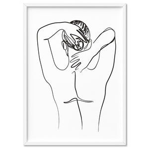 Naked Nude Line Drawing II - Art Print, Stretched Canvas, or Framed Canvas Wall Art