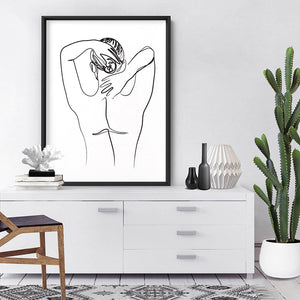 Naked Nude Line Drawing II - Art Print, Stretched Canvas or Framed Canvas Wall Art, Shown inside a frame