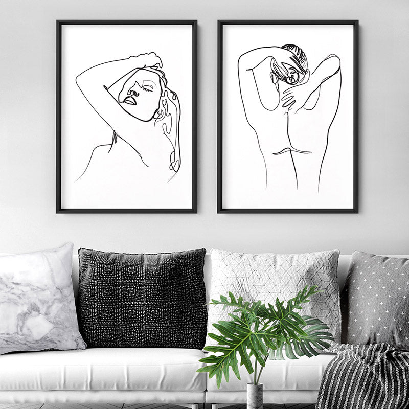 Naked Nude Line Drawing II - Art Print, Stretched Canvas or Framed Canvas Wall Art, Shown framed in a room mockup