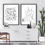 Naked Nude Line Drawing III - Art Print, Stretched Canvas or Framed Canvas Wall Art, Shown framed in a room mockup