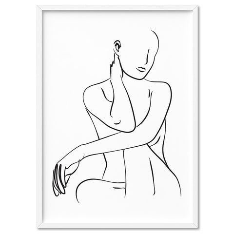 Naked Nude Line Drawing III - Art Print, Stretched Canvas, or Framed Canvas Wall Art