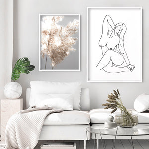 Naked Nude Line Drawing IV - Art Print, Stretched Canvas or Framed Canvas Wall Art, Shown framed in a room mockup