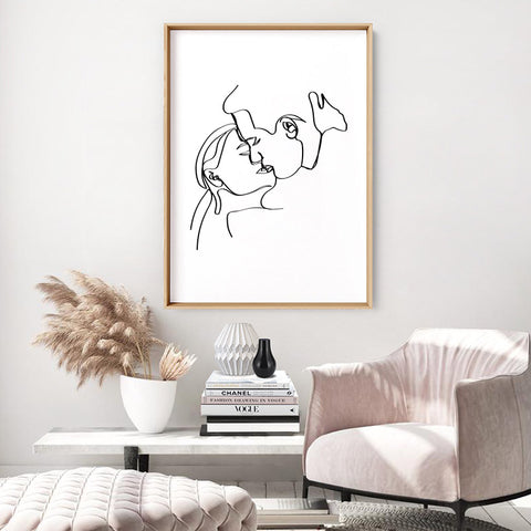 The Kiss Line Drawing - Art Print, Stretched Canvas, or Framed Canvas Wall Art