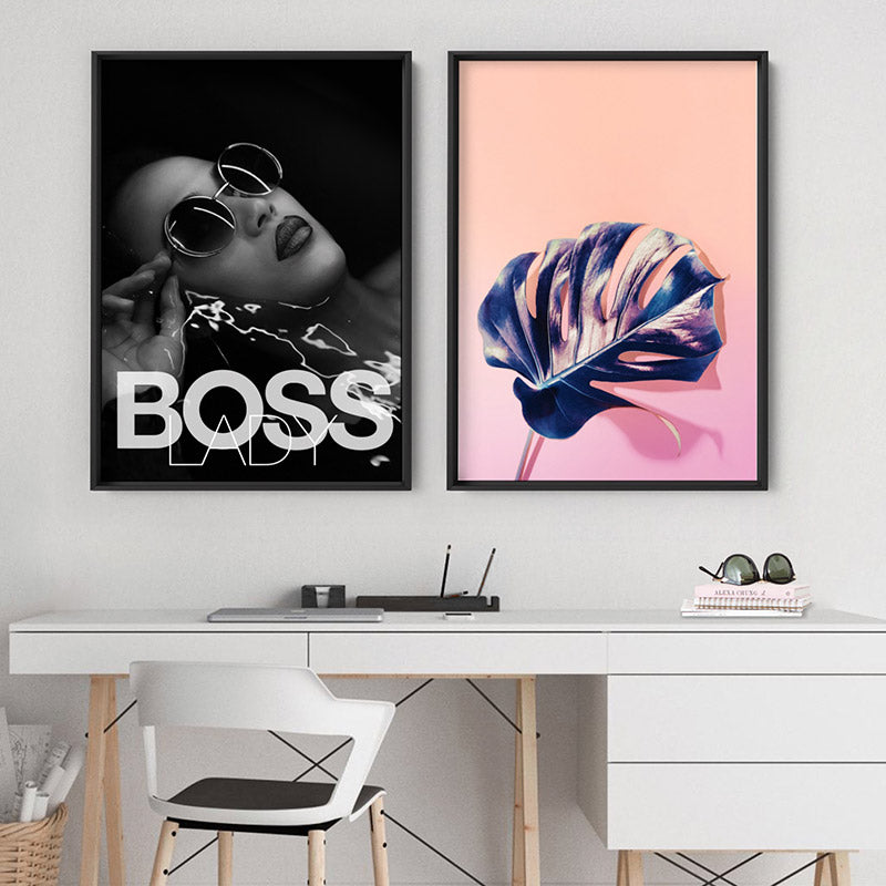 BOSS Lady Black and White I - Art Print, Stretched Canvas or Framed Canvas Wall Art, Shown framed in a room mockup
