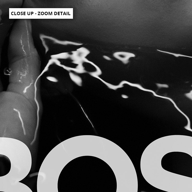 BOSS Lady Black and White I - Art Print, Stretched Canvas or Framed Canvas Wall Art, Close up View of Print Resolution