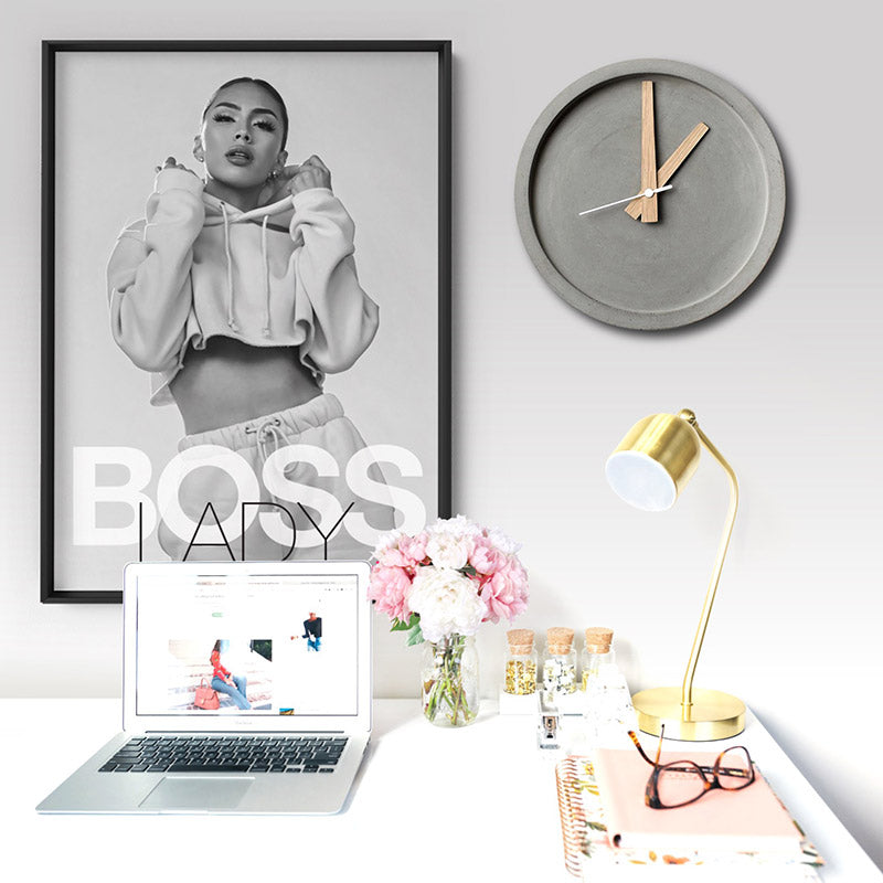 BOSS Lady Black and White II - Art Print, Stretched Canvas or Framed Canvas Wall Art, Shown inside a frame