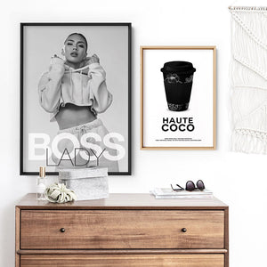 BOSS Lady Black and White II - Art Print, Stretched Canvas or Framed Canvas Wall Art, Shown framed in a room mockup